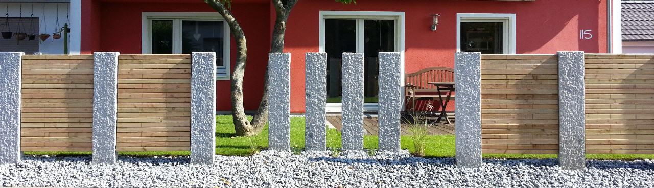 gartengestaltung durch Granitstehlen mit sichtschutz