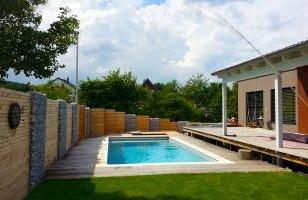 sichtschutz am pool, bau eines vorgartens mit neuer terasse, pool und sichtschutz, Design ideen